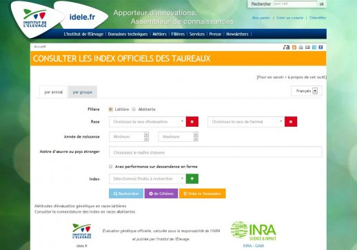 Interface de consultation des index officiels